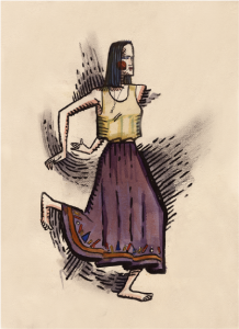 Tales of the Buffoon costume design, 1990, watercolor, pencil, charcoal on paper, 18 x 24 inches