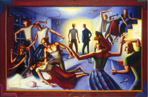 A Tale of the Buffoon, Part II, 1990, oil on canvas, 53 x 83 inches