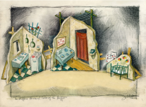 Tales of the Buffoon set design, 1990 watercolor, pencil, charcoal on paper, 18 x 24 inches